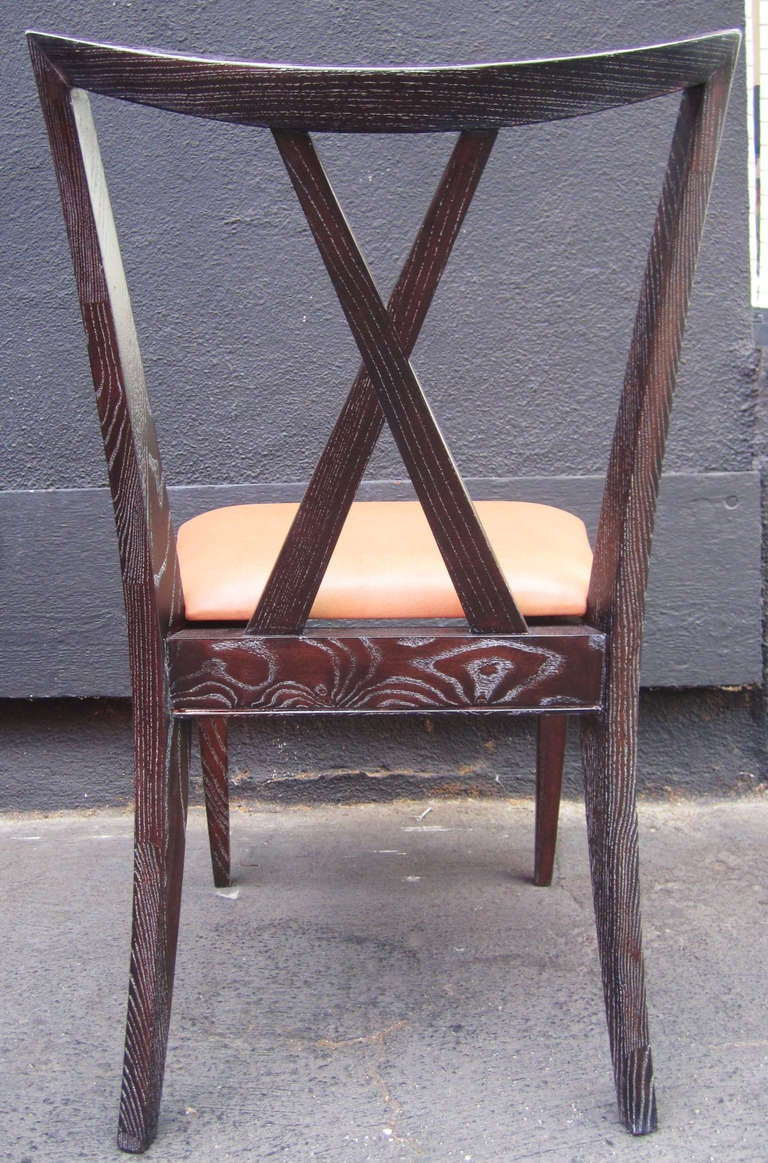Mid-20th Century Set of 6 X-Back Dining Chairs by Paul Frankl For Sale