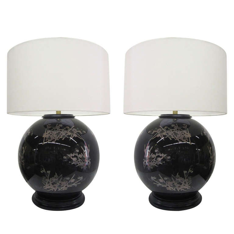 Mid-Century Glass Japanese Style Table Lamps, Pair
