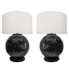 Midcentury Glass Japanese Style Table Lamps, Pair