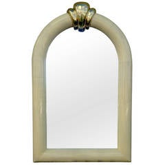 1970s Goat Skin and Brass Mirror in the Manner of Karl Springer