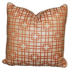 Tangerine and Cream Outdoor Pillow