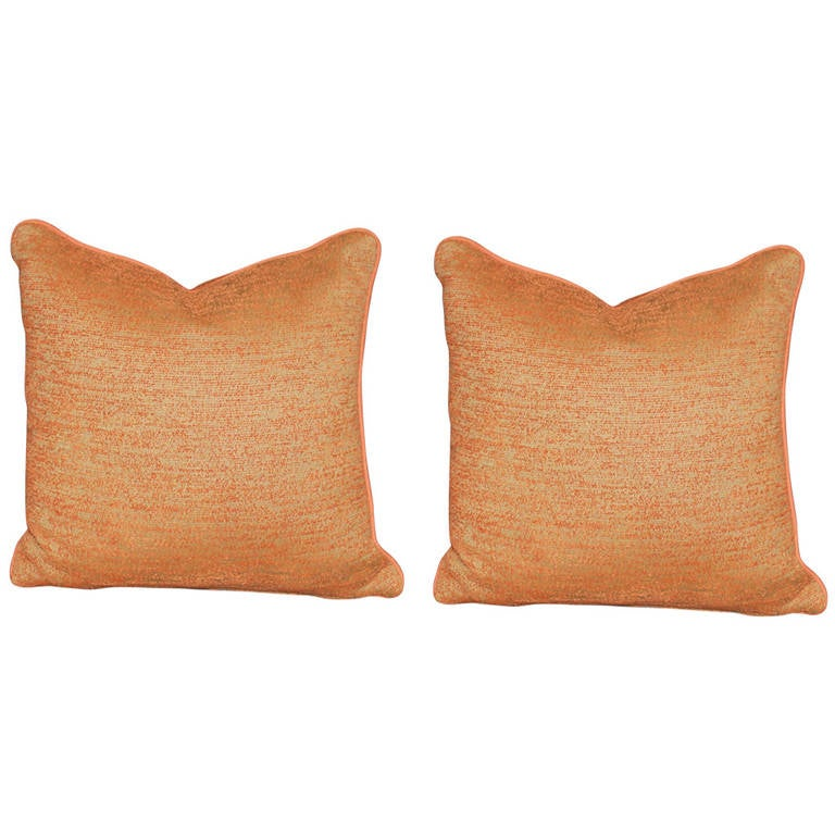 Pair of Burnt Orange Chenille Outdoor Pillows at 1stdibs