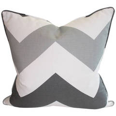 Gtay and White Chevron Pillow