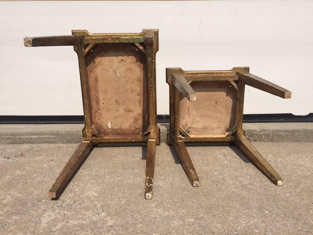 Early 1900s Italian Gilt Nesting Tables, Polychromed For Sale 3