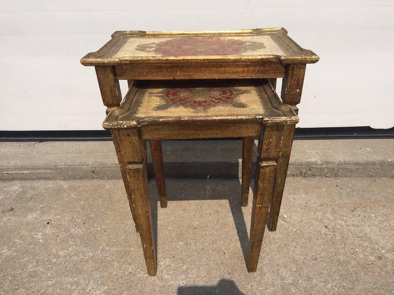 Early 1900s Italian Gilt Nesting Tables, Polychromed For Sale 2