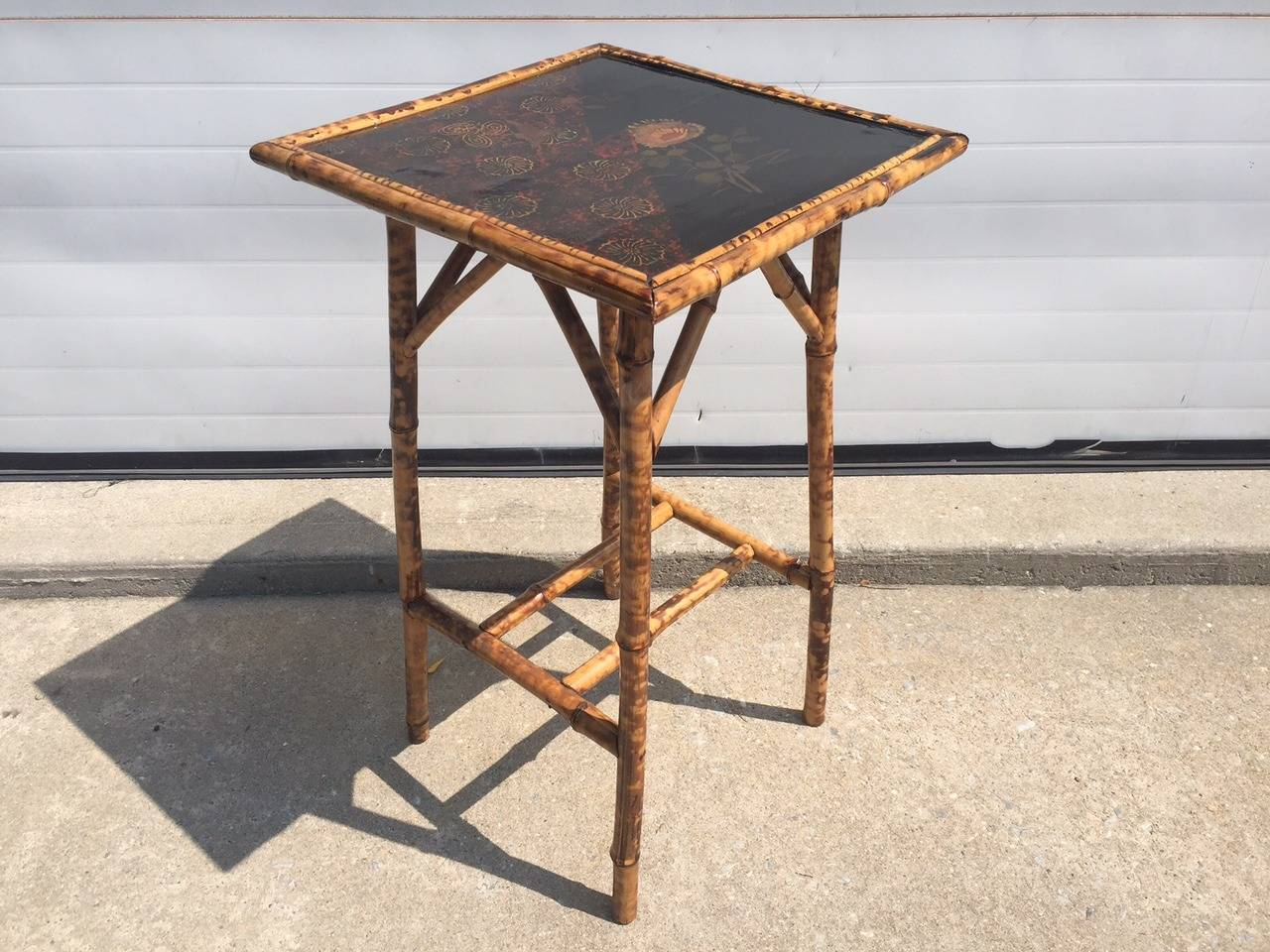Antique Chinoiserie Lacquered Scorched Bamboo Side Table