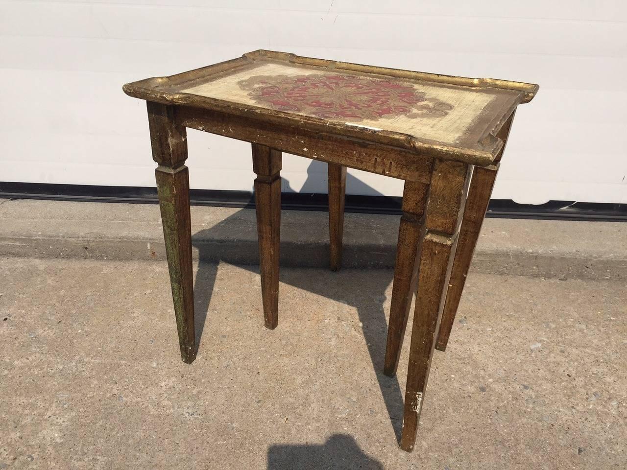 Early 1900s Italian Gilt Nesting Tables, Polychromed For Sale 1