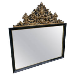 1930s French Ebonized Repousse Mirror