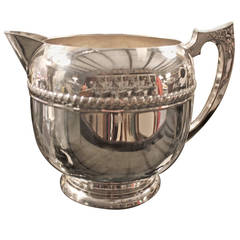English Early 20th Century Silver Plated Water Pitcher with Beaded Detail