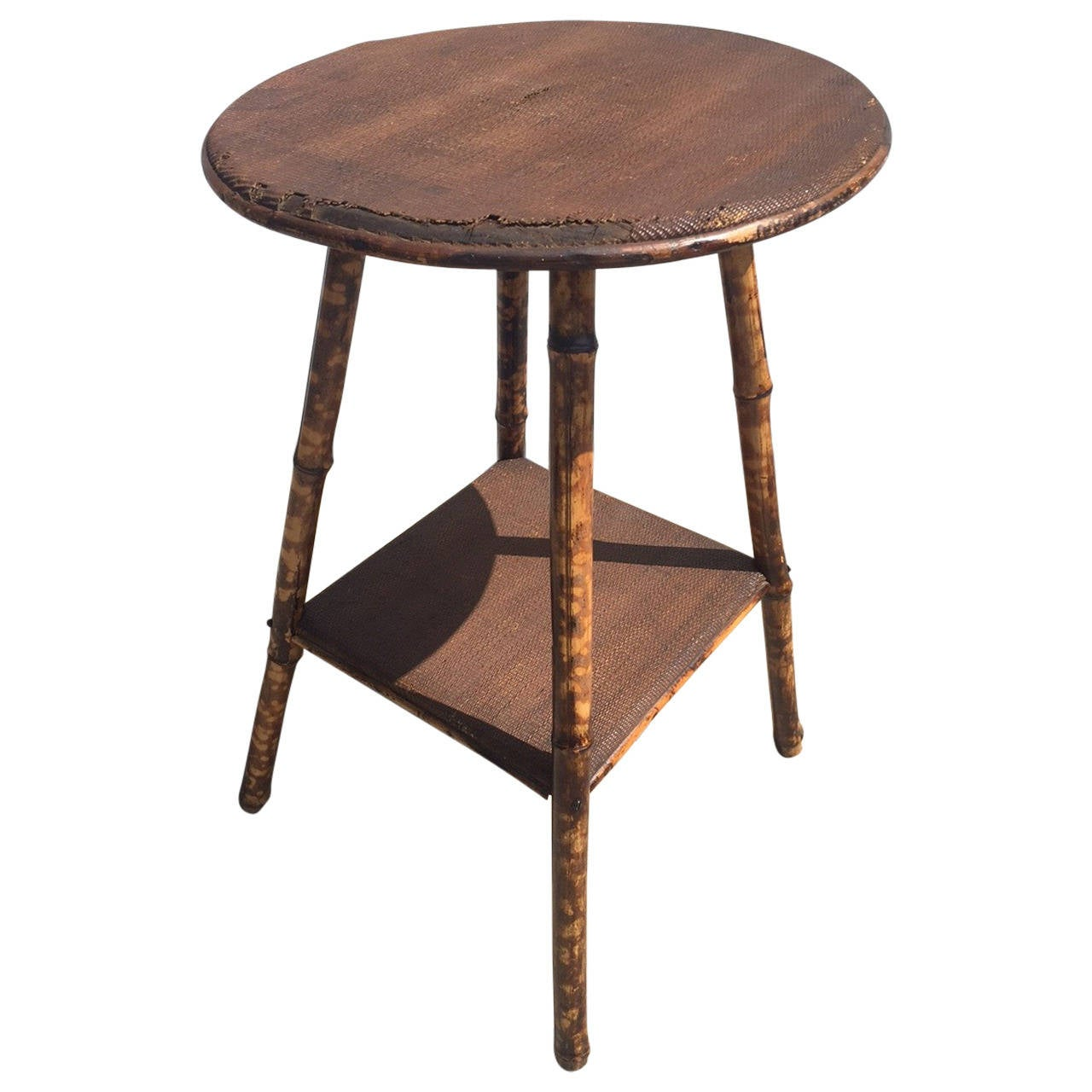 1930s english scorched bamboo and rattan round side table at 1stdibs 1930s english scorched bamboo and rattan round side table 1 geotapseo Choice Image