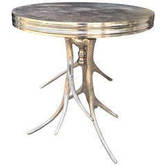 21st Century Belgian Nickel Antler Base Round Side Table