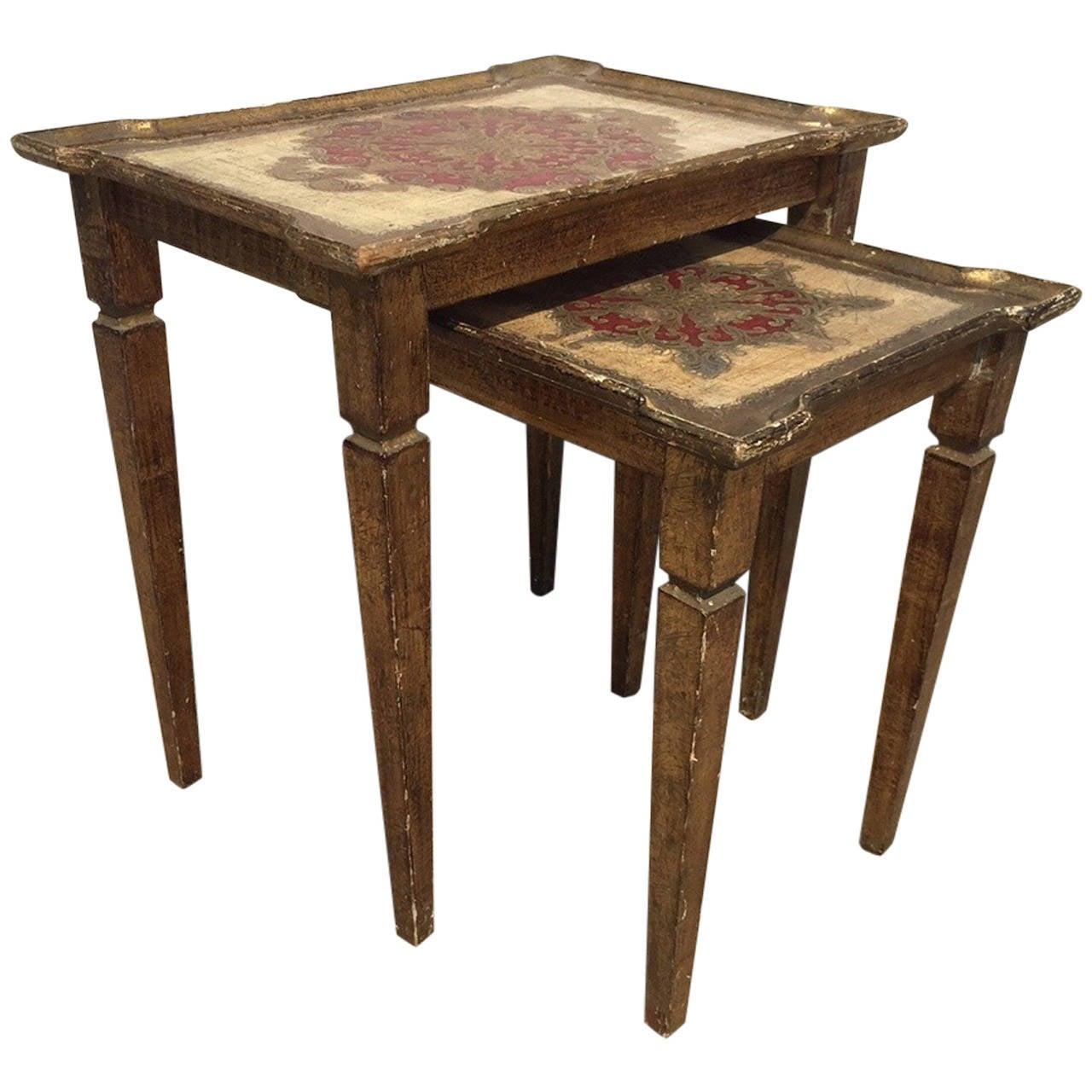 Early 1900s Italian Gilt Nesting Tables, Polychromed For Sale