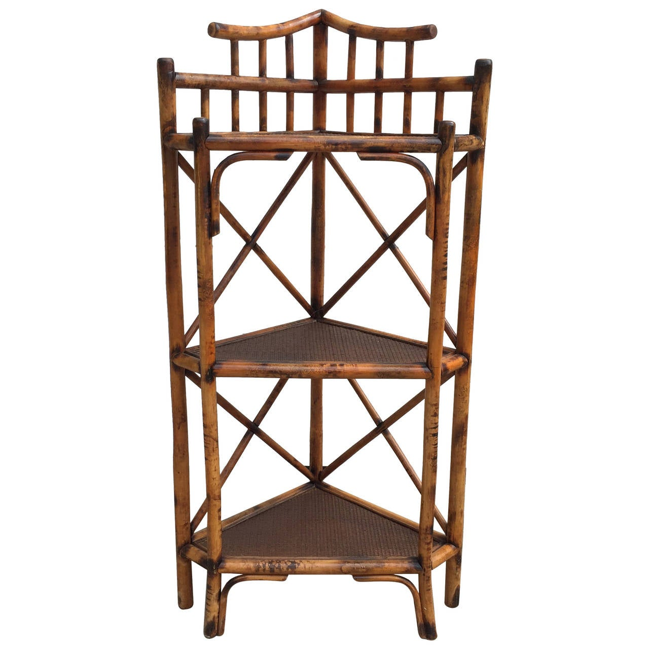 three tiered corner etagere with scorched bamboo frame and. Black Bedroom Furniture Sets. Home Design Ideas