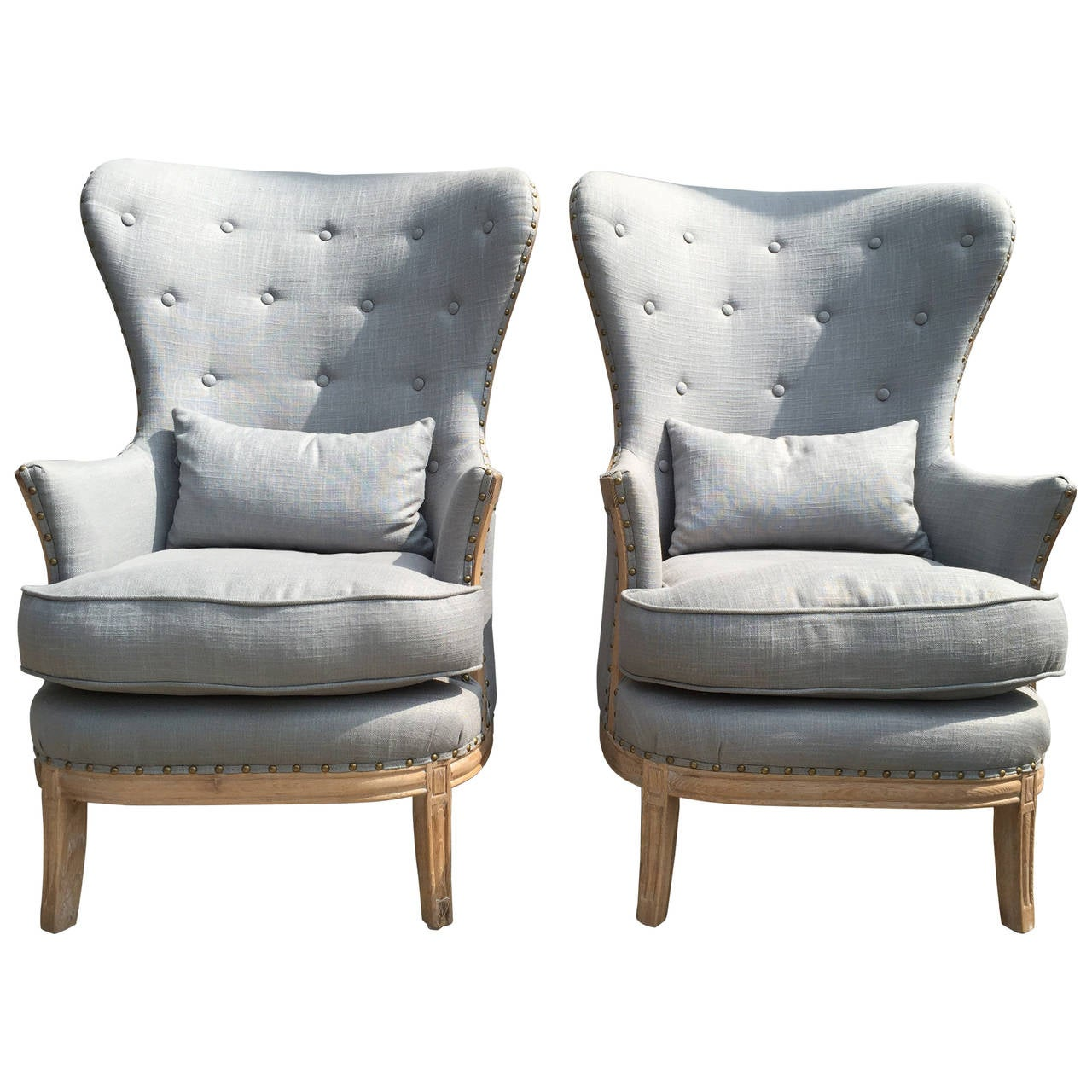 Pair of High Back Blue Grey Linen Upholstered Bergere