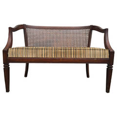 Antique Mahogany and Rattan Back Paneled Settee