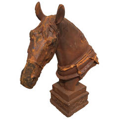 1980s Realism Cast Iron Sculpture of a Horse's Head and Nape