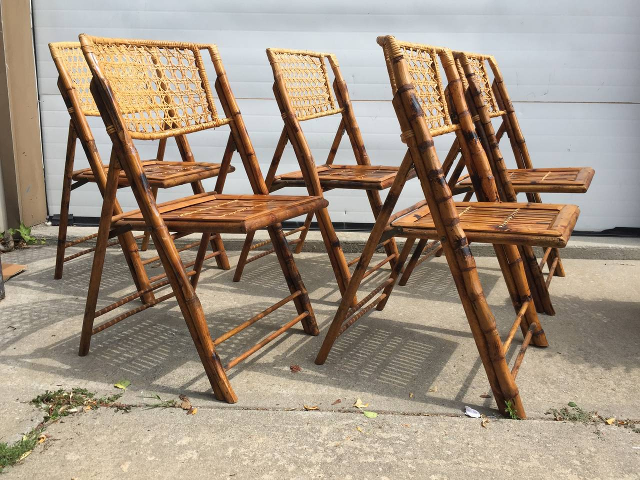 bamboo rattan chairs. Set Of Five Scorched Bamboo Frame Folding Chairs With Rattan Seat And Back For Sale 2 A