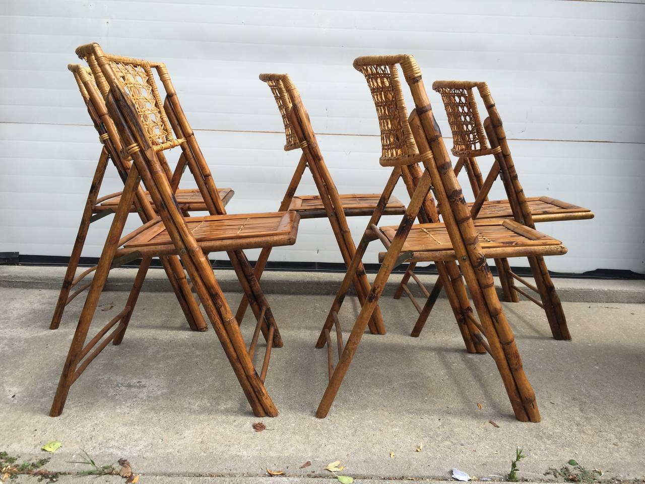 Set of Five Scorched Bamboo Frame Folding Chairs with Rattan Seat and Back at