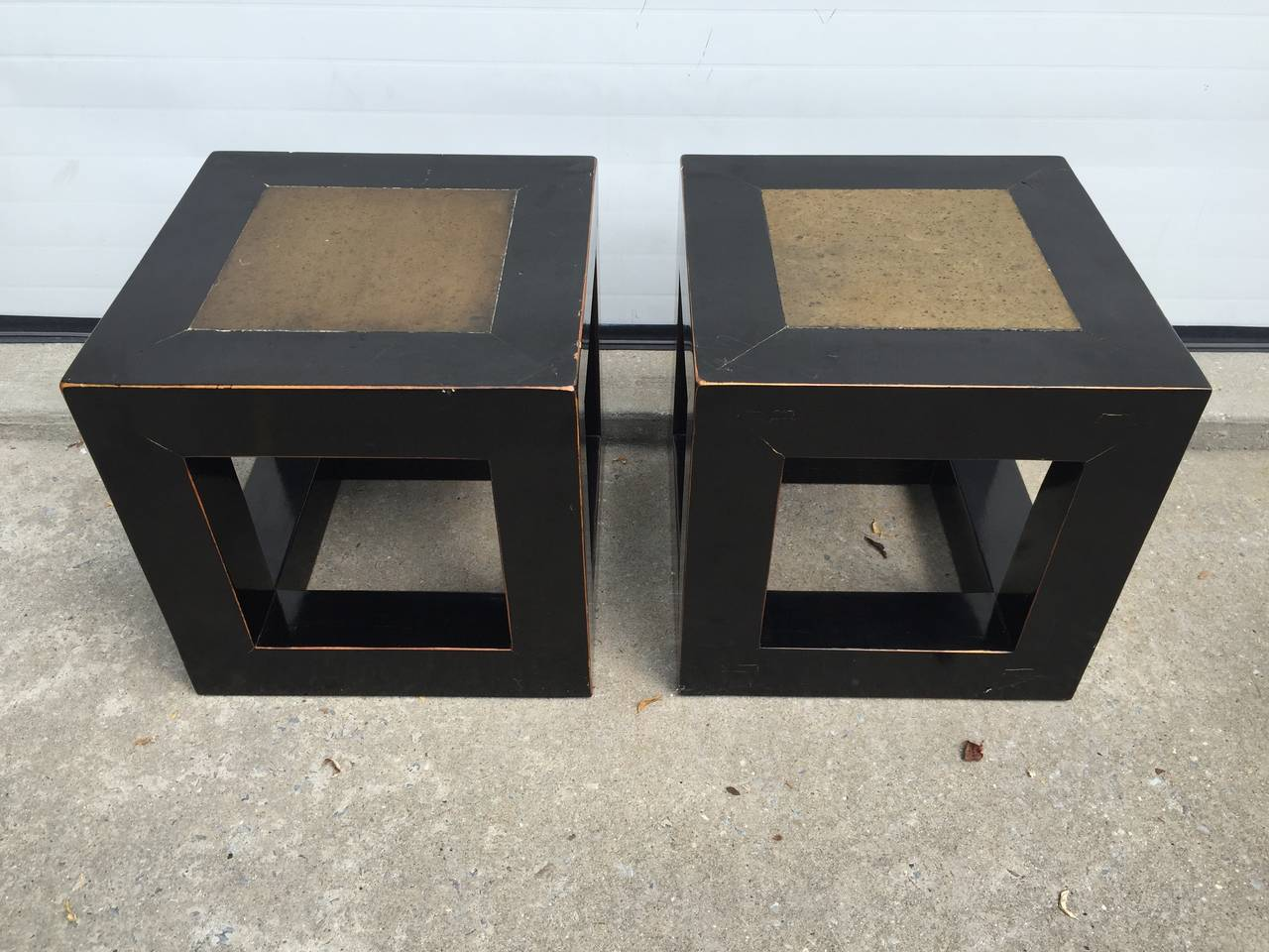Chinese Elmwood and Stone Square Table In Excellent Condition For Sale In Southampton, NY