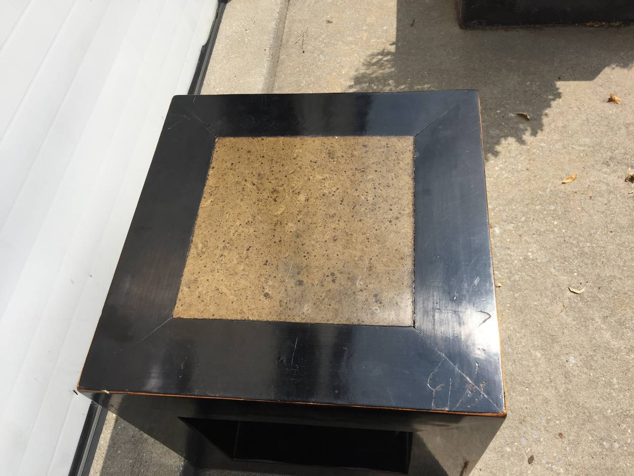 Chinese Elmwood and Stone Square Table For Sale 2