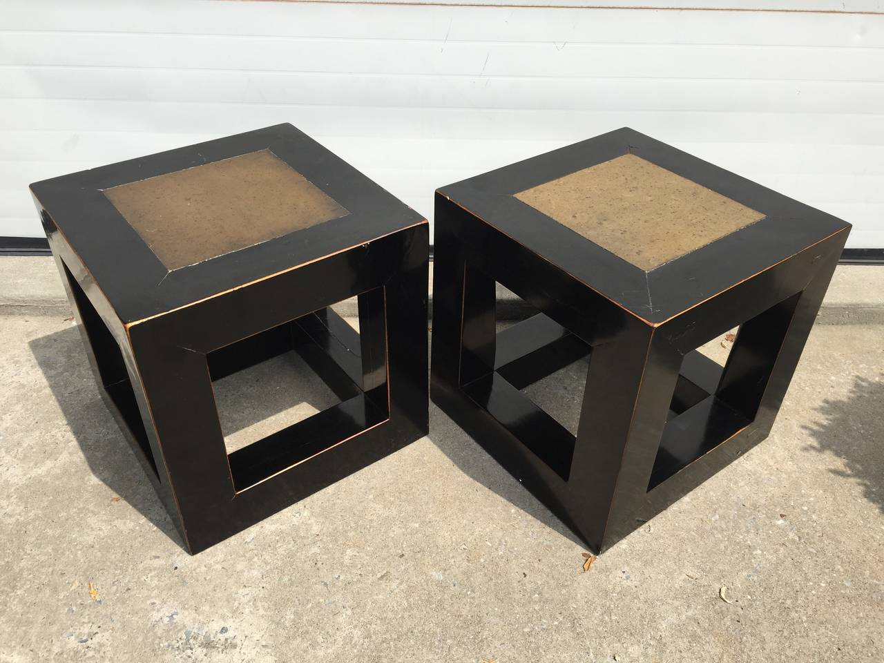 Chinese Elmwood and Stone Square Table For Sale 4
