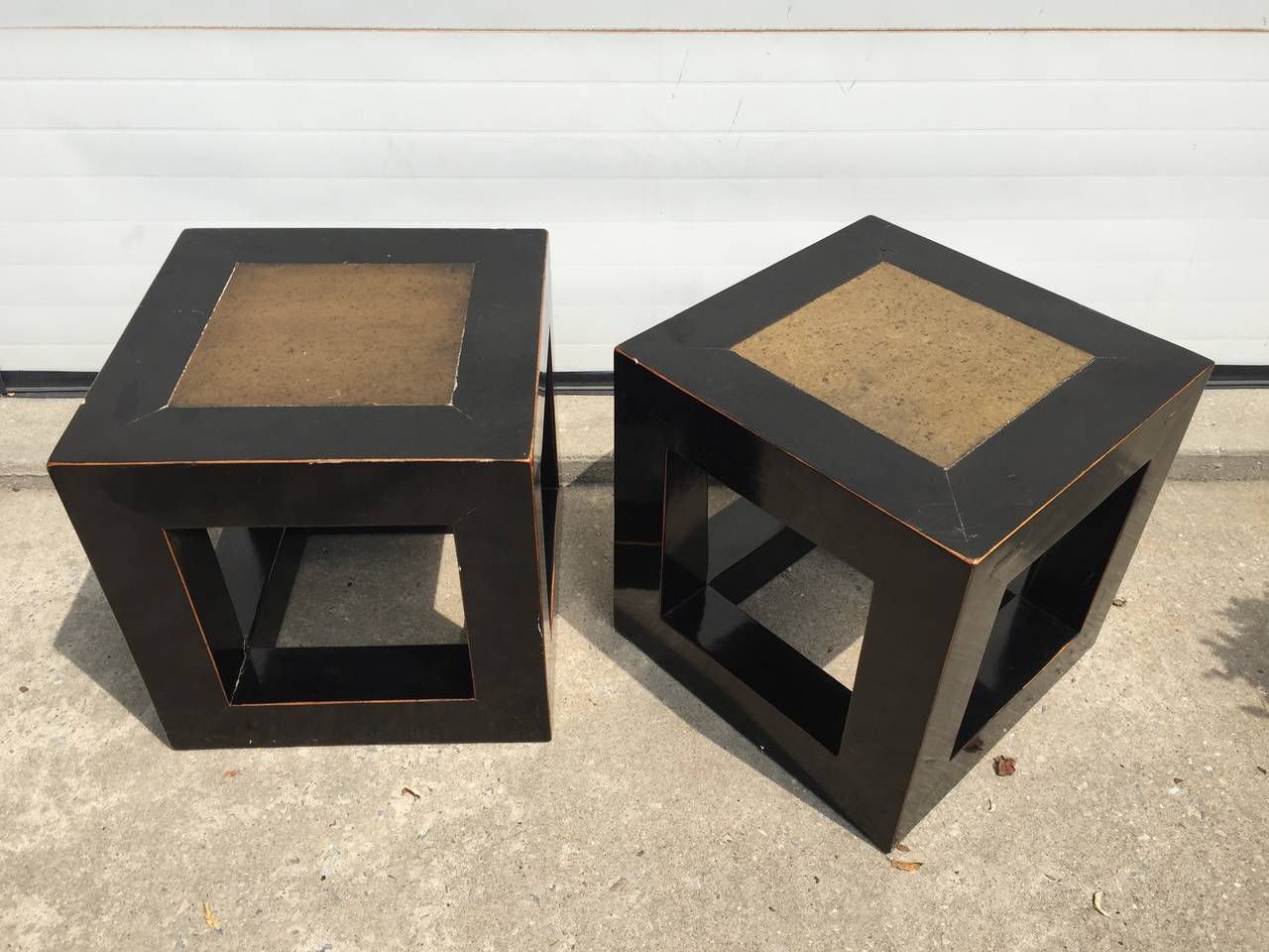 Chinese Elmwood and Stone Square Table For Sale 5