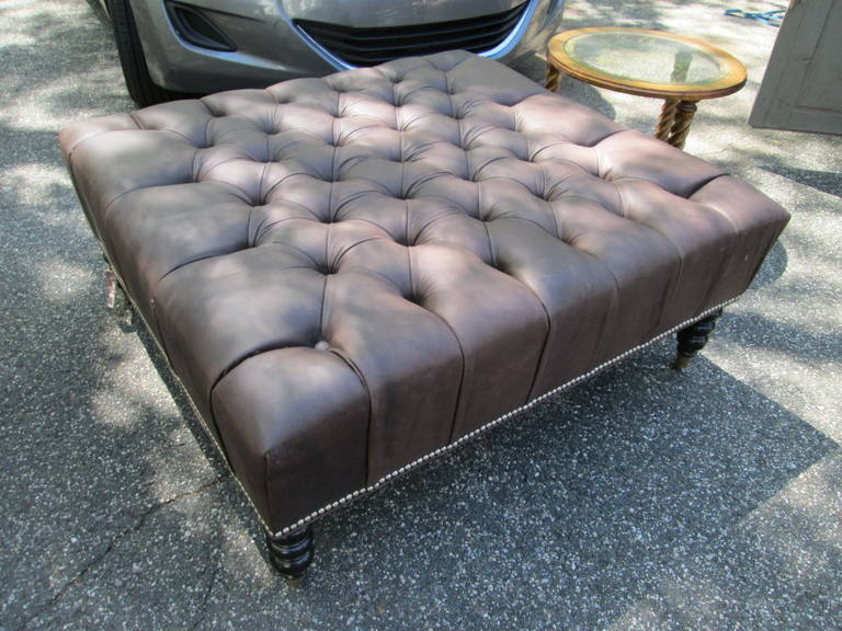 British Oversized Leather Tufted Ottoman For Sale