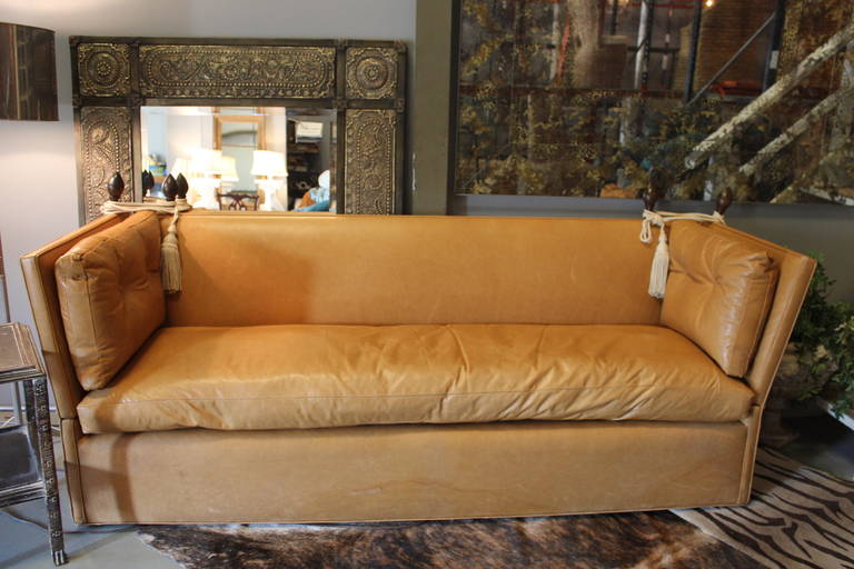 Knole Style Cognac Leather High Back Sofa For Sale At 1stdibs