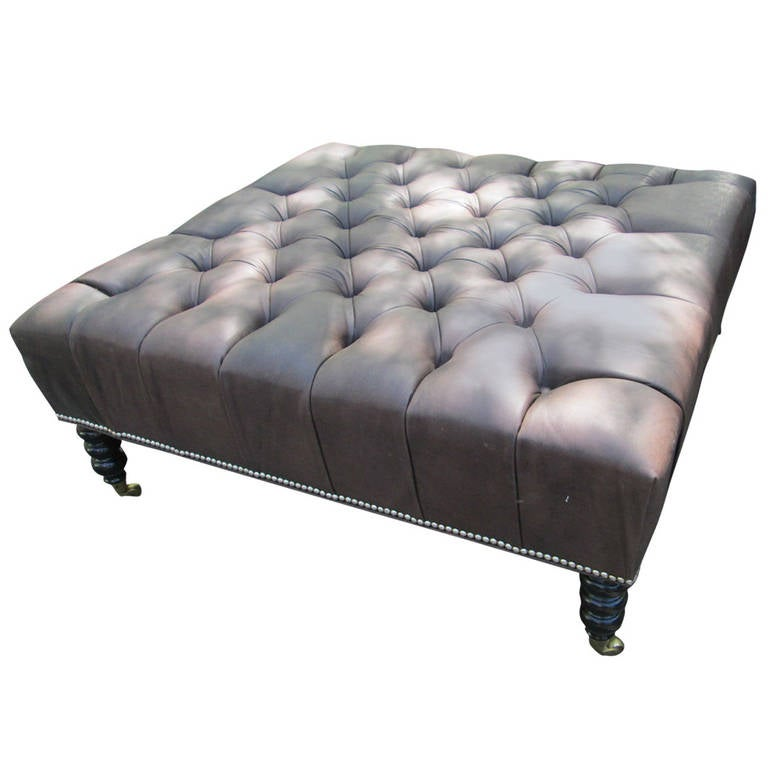 oversized leather tufted ottoman for sale at 1stdibs. Black Bedroom Furniture Sets. Home Design Ideas