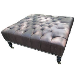 Oversized Leather Tufted Ottoman