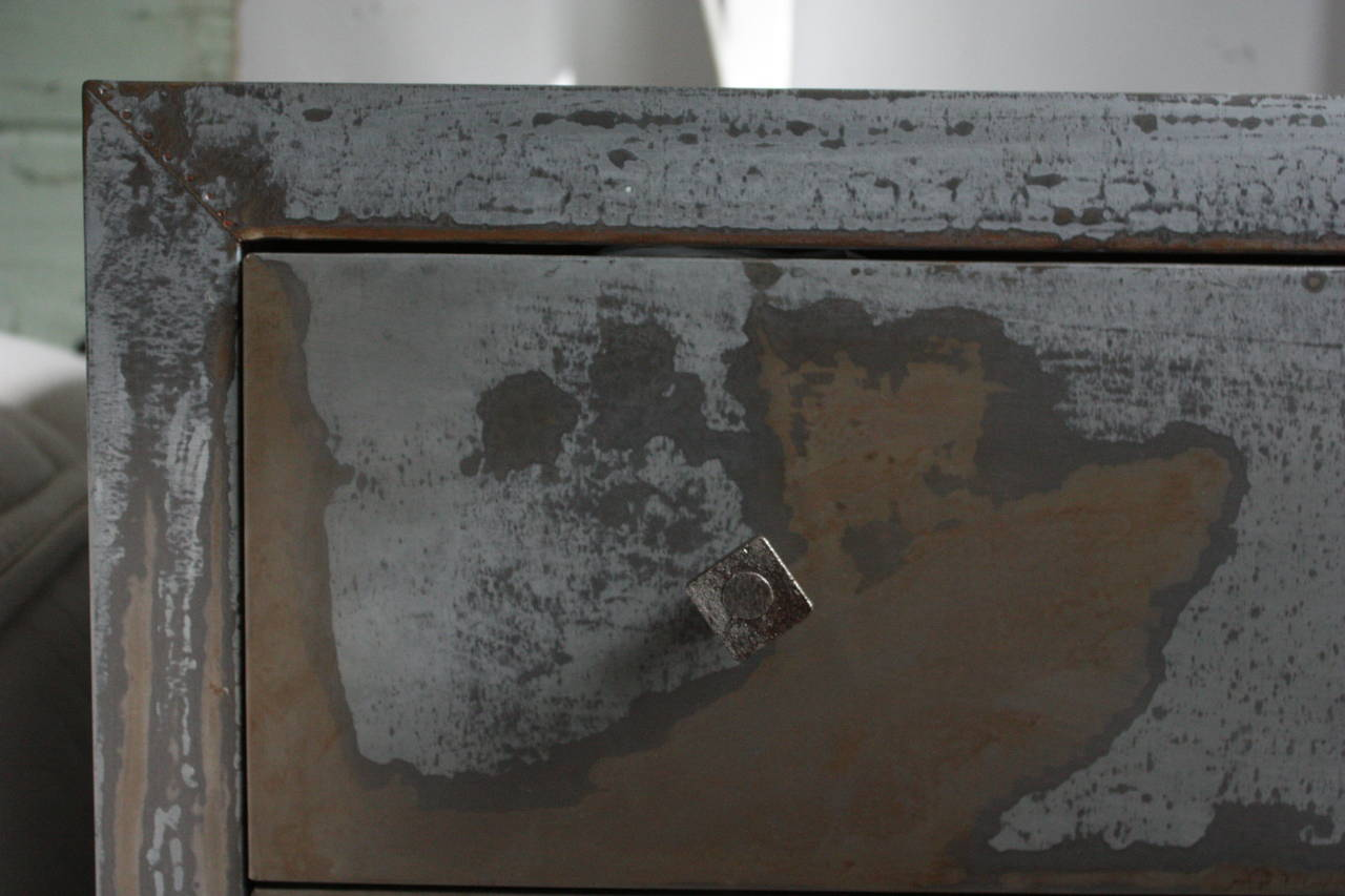 Acid Washed 1990s Metal Wrapped Beechwood Chest of Drawers, Belgium 3