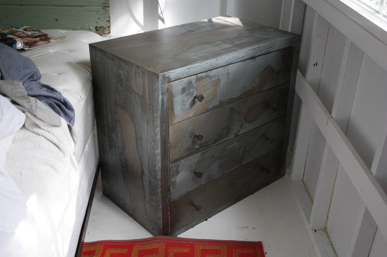 Acid Washed 1990s Metal Wrapped Beechwood Chest of Drawers, Belgium 5