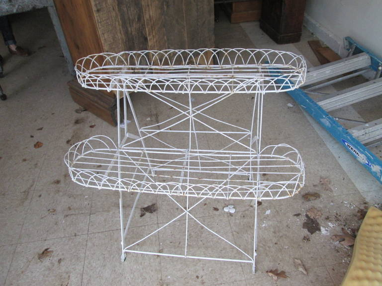 Charming old French wire plant stand.