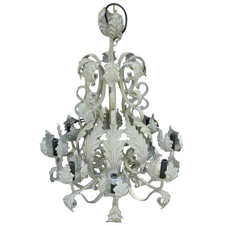 Belgian Painted Tole Chandelier For Sale
