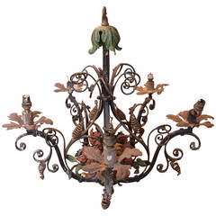 French Painted Candle Chandelier