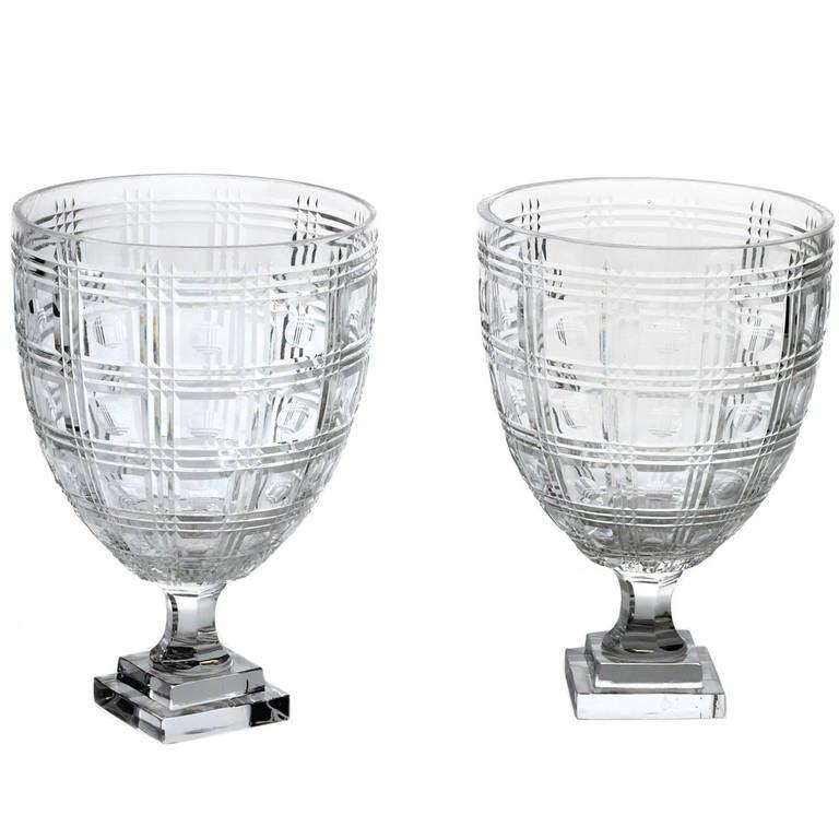 Pair of Plaid Circle Hurricane Glasses, 1930s 1