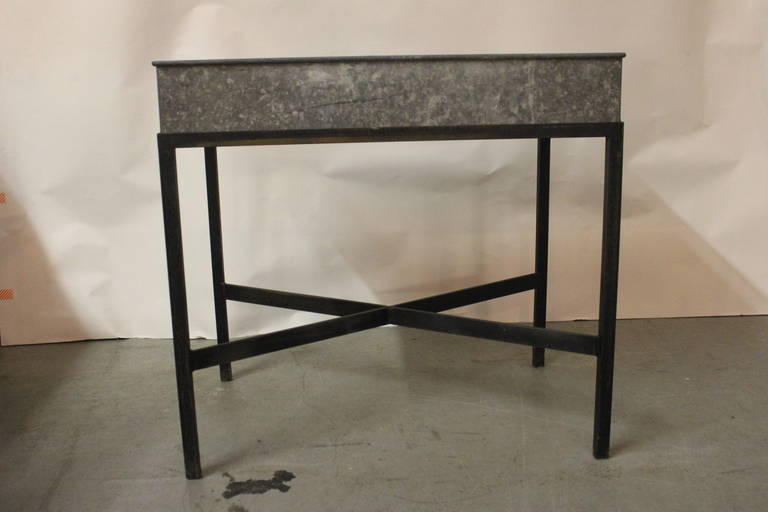 Zinc Metal Planter Box table, very chic, can be used inside or out, Indoors as a fabulous bar