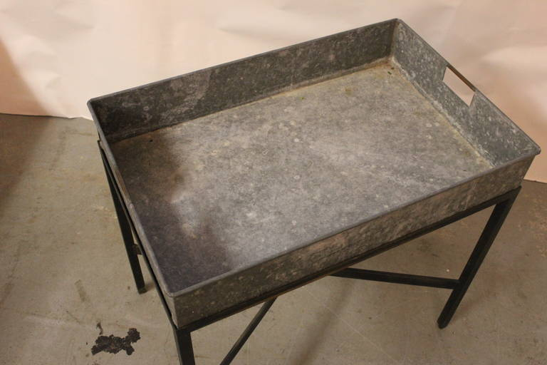 Zinc Metal Planter Box Table or Bar In Excellent Condition For Sale In Southampton, NY
