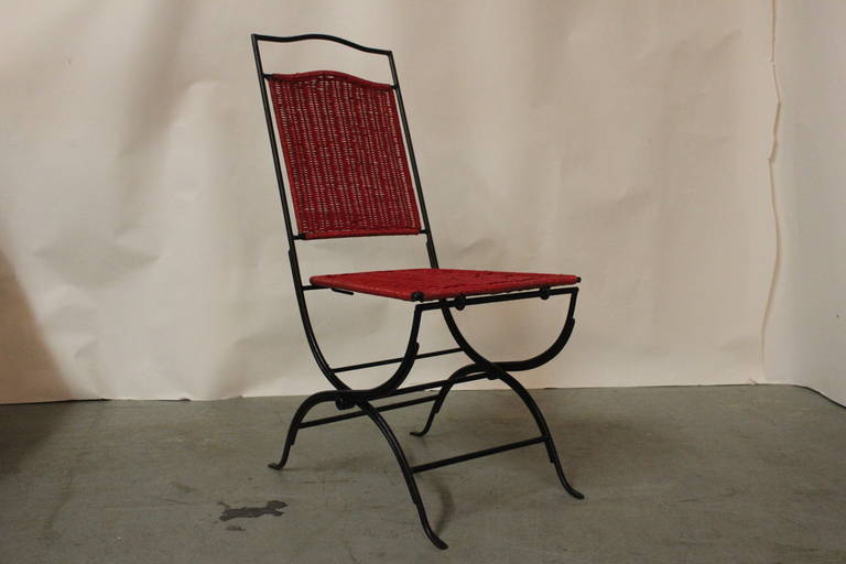 Set of 4 Red Wicker chairs with Black Iron Frames Folding Chairs For Sale a