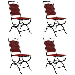 Set of 4 Red Wicker chairs with Black Iron Frames , Folding Chairs