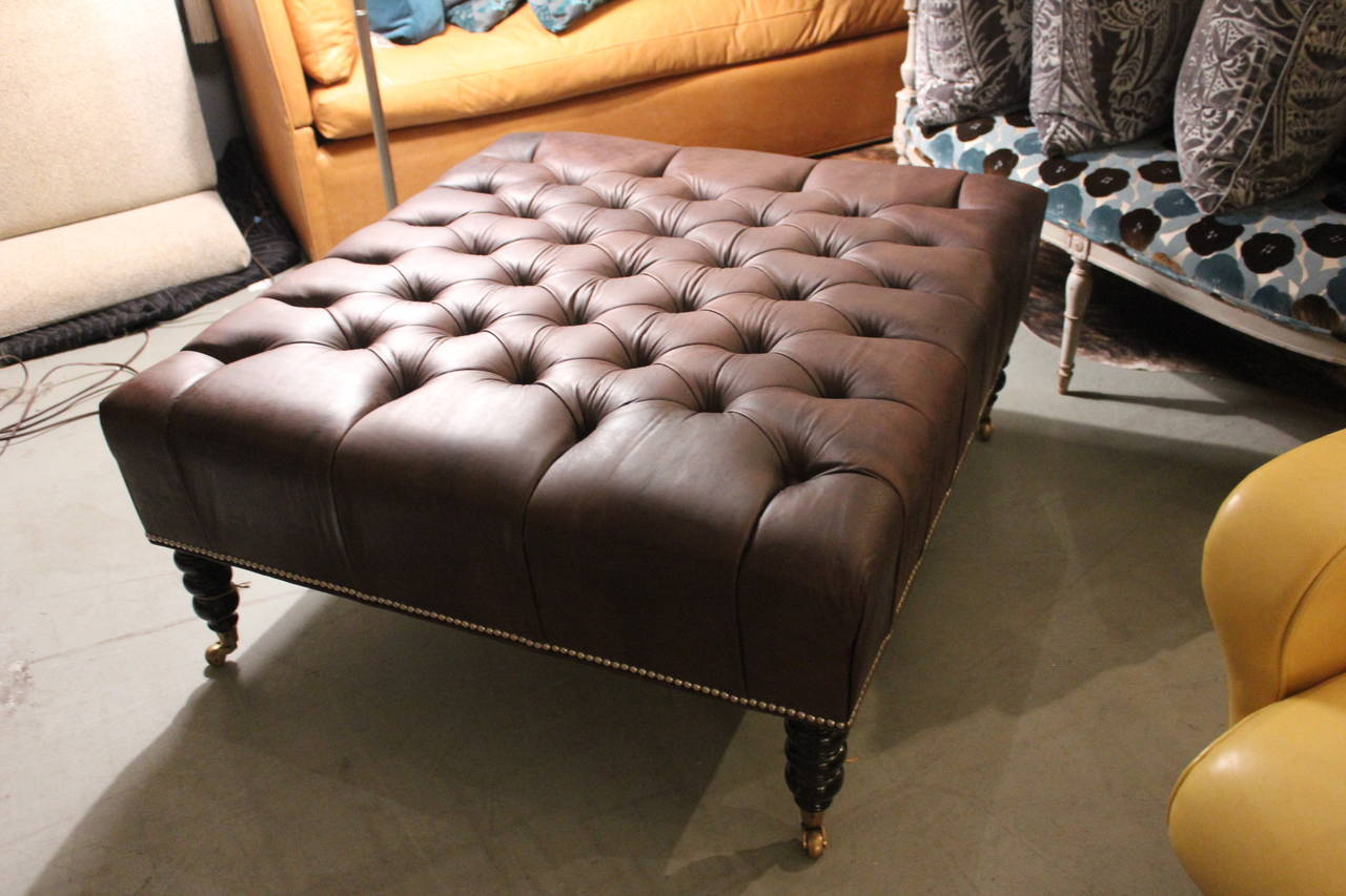 Oversized Leather Tufted Ottoman For Sale 1