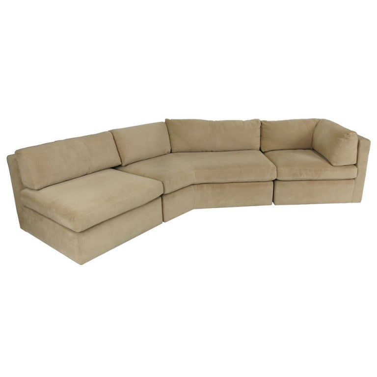 three piece angled sofa by milo baughman for thayer coggin
