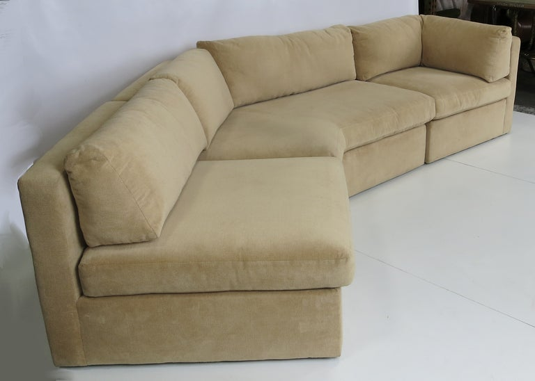Mid Century Modern Three Piece Angled Sofa For