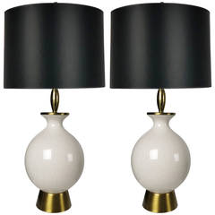 Pair of Modernist Crackle Glaze Lamps by Wilshire House