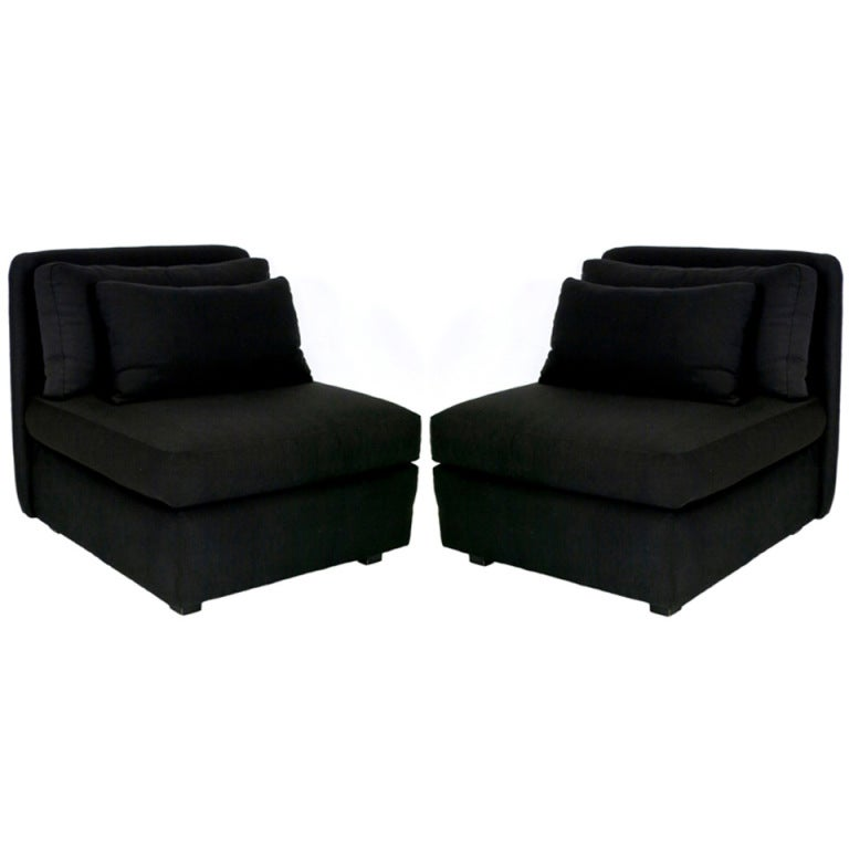 Chic Pair of Oversized Slipper Chairs by John Mascheroni for Bloomingdales For Sale