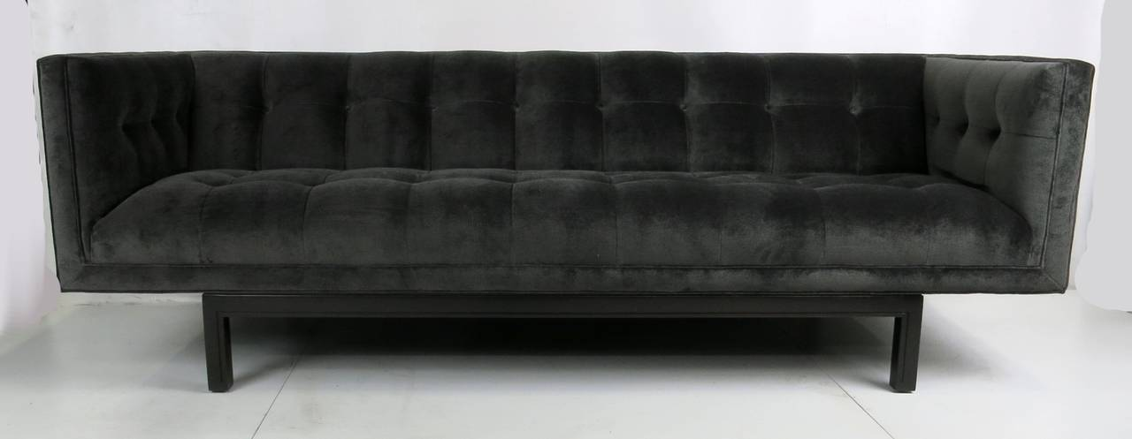 Fabulous 1950's button tufted velvet Tuxedo sofa sold through S. Christian, San Francisco's premier purveyor of high end designer Modern furniture in the 1950s and 1960s. This fine piece has meticulously restored from the frame up and reupholstered