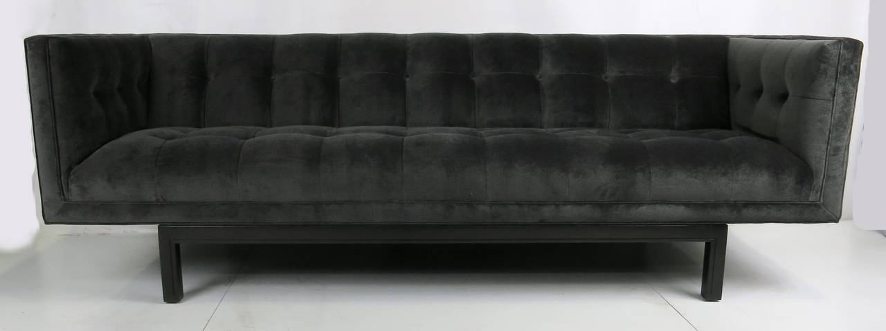 American Tufted Velvet Tuxedo Sofa For Sale