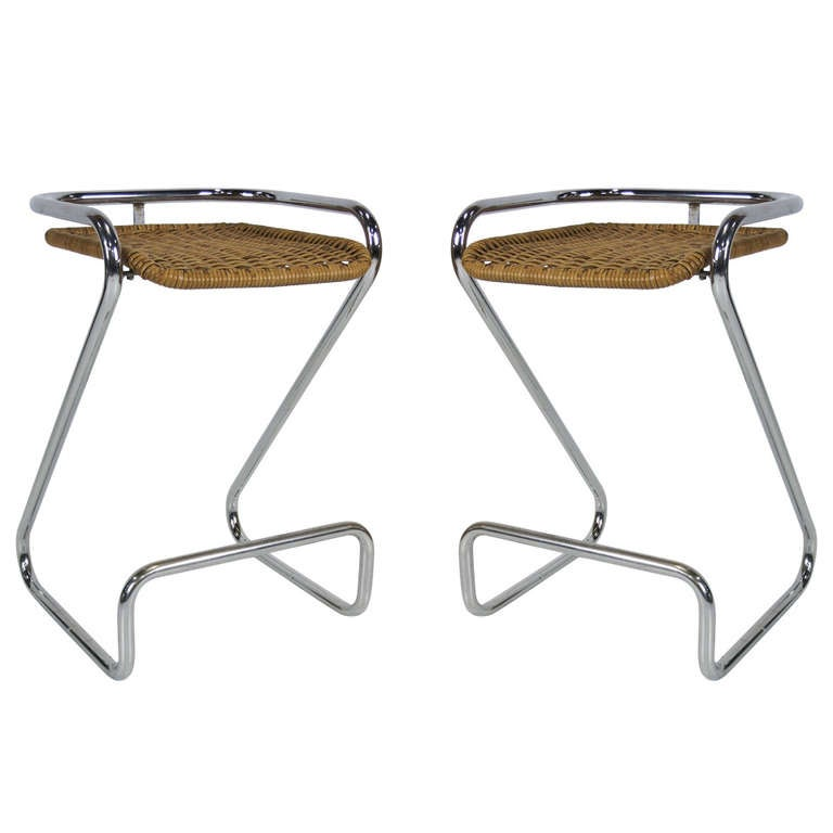 Pair Of Italian Chrome And Wicker Barstools At 1stdibs