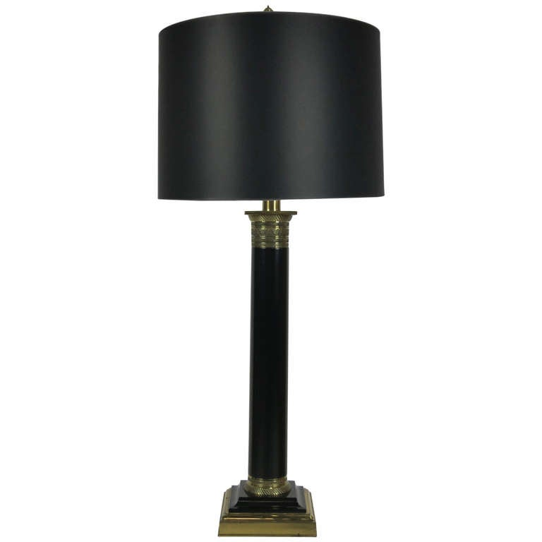 Ebony and Brass Column Lamp by Paul Hanson 1