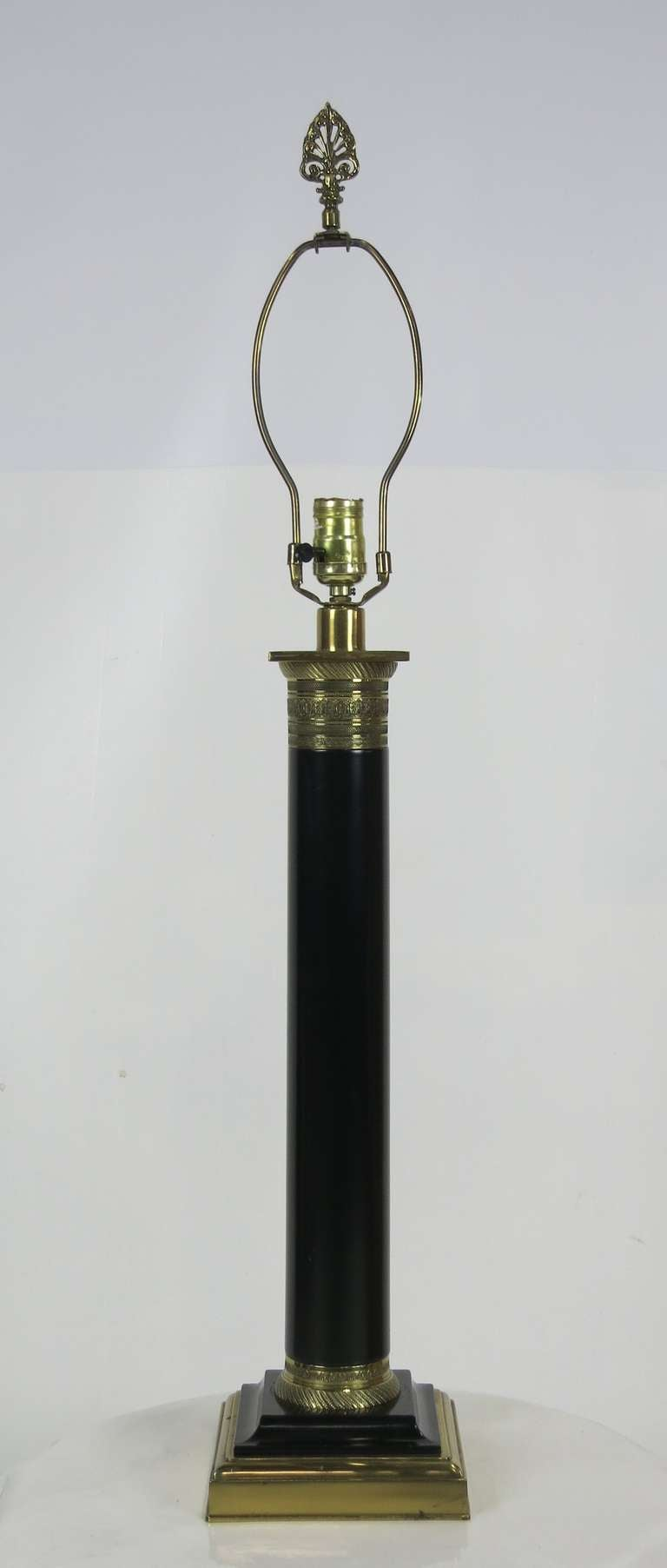 Ebony and Brass Column Lamp by Paul Hanson 2